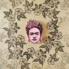 Frida with tropical flowers. Hand carved rubber stamp by CassaStamps
