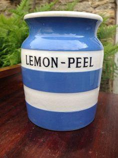 Rare Lemon peel Cornishware T G Green caddy storage jar 1930's cornish ware