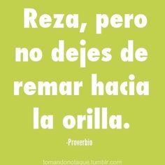 Reza, pero no dejes de remar hacia la orilla. (Proverbio) #frases  #citas  #quotes