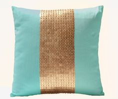 Teal pillow covers- Teal gold color block in silk and sequin- Decorative throw…