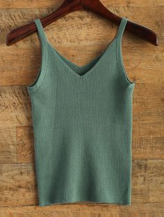 Knitted V Neck Tank Top GREEN: Tank Tops | ZAFUL