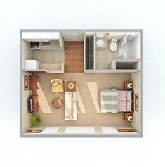 Small Studio Apartment Layout Design Ideas - home design Small Apartment Layout, Small Apartment Bedrooms, Studio Apartment Layout, Small Studio Apartments, Design Apartment, Apartment Ideas, Small Apartment Plans, Studio Apartment Kitchen, Garage Apartments