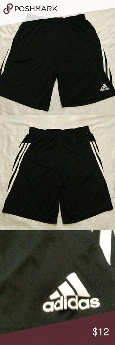 Adidas Shorts Large Black Climalite Black Athletic Shorts Adidas Brand With Climalite Fabric Nice Condition Black with White Stripes Size Large Thank You For Looking adidas Shorts Athletic