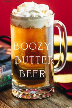 Planning an all-day Harry Potter marathon? Stay in theme with our boozy Butter Beer! This easy recipe teaches you how to top off the vanilla-vodka cocktail with a homemade butterscotch whipped cream! Alcoholic Butterbeer, Butterbeer Recipe, Harry Potter Cocktails, Harry Potter Food, Beer Recipes, Alcohol Recipes, Vanilla Vodka Recipes, Pina Colada, Christmas Cocktails