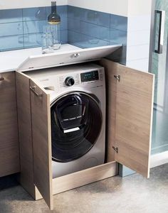 To grant easier access to the washing machine detergent dispenser, you can order the opening top to allow convenient use from the top. Laundry Room Design, Kitchen Design, Washbasin Design, Diy Wall Decor For Bedroom, Bathroom Design Luxury, Room Closet, Cupboard Storage, Small Bathroom, Washing Machine