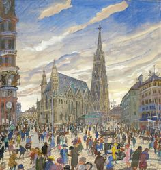 Oskar Laske - St. Stephen's Cathedral, Vienna | From a unique collection of landscape drawings and watercolors at http://www.1stdibs.com/art/drawings-watercolor-paintings/landscape-drawings-watercolors/