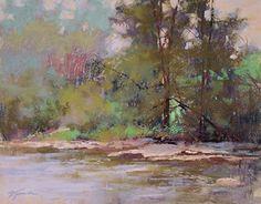 "Creekside Glow || Barbara Jaenicke, Pastel on Panel 11 x 14"""