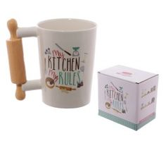 Fun Rolling Pin Shaped Handle Ceramic Mug