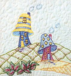 Periwinkle Lane BOM – Block 11 Embroidery Pattern Periwinkle Lane – Block 11 Embroidery Pattern by Love In Stitches – Barbara Campbell. BOM embroidery and crayon pattern of two mushroom houses. Advanced Embroidery, Hand Embroidery Patterns, Vintage Embroidery, Embroidery Applique, Machine Embroidery Designs, Quilt Patterns, Oil Pastel Crayons, Flower Doodles, Doodle Flowers