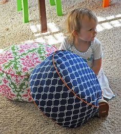 Floor cushions tutorial - only needs one yard home decor fabric, piping, and fiberfill. I was going to buy bean bags fir the boys' reading nook, but now I can make these! And more of them!!!