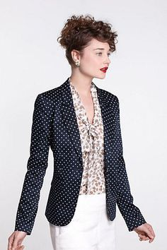 Opt for classic staples with a modern update, like this polka dot cotton blazer from Anthropologie. Pair with classic slacks to keep it conservative and interview style appropriate.