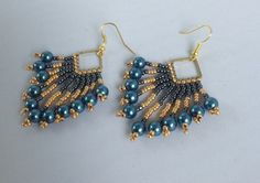 Teal pearl hematite and gold fan earrings by Beadgardener on Etsy
