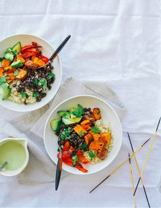 Simple Grilled Sweet Potato and Black Bean Burrito Bowls (With Spicy Cumin Garlic Drizzle) | 15 Easy Healthy Dinners You Can Make In 30 Minutes Or Less