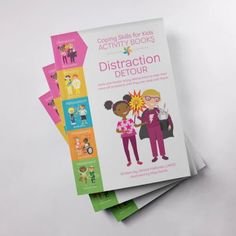 """The Coping Skills for Kids Activity Book: Distraction Detour focuses on the Distraction Coping Style – detouring and holding a child's attention when they might otherwise be fixated or """"stuck"""" on a particular stressor. This coping style focuses on playful, fun activities that relieve worry."""