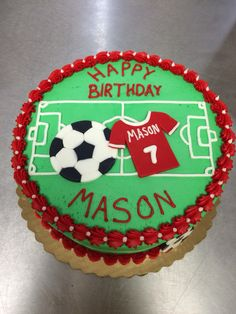 "8"" Soccer themed cake"