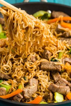 Noodle Skillet with Steak Love ramen? Start incorporating the noodles into a stir-fry with this easy weeknight dinner. Start incorporating the noodles into a stir-fry with this easy weeknight dinner. Asian Recipes, Beef Recipes, Healthy Recipes, Cooking Recipes, Cooking Videos, Top Ramen Recipes, Recipies, Beef Ramen Noodle Recipes, Leftover Steak Recipes