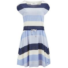 Vero Moda Women's Milly Striped Dress - Grapemist ($18) ❤ liked on Polyvore featuring dresses, multi, ruched dress, rouched dress, scoopneck dress, striped dress and stripe dress
