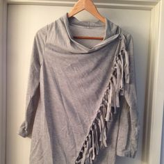 Fringe wrap shirt Very lightweight grey wrap top. Size small. Never been worn. Tops Tees - Long Sleeve