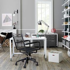 go-cart white rolling desk | CB2