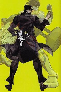 Jotaro and Iggy Jojo Yes, Jotaro Kujo, Daddy Issues, Cursed Child, Jojo Bizzare Adventure, Jojo Bizarre, Cover Art, Batman, Darth Vader