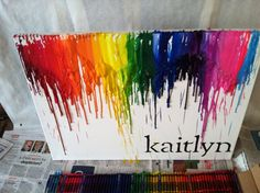 How to Make Melted Crayon Art.. I like the idea of having a black word on the bottom