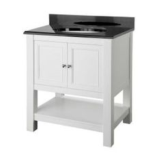 Foremost Gazette 30 in. Vanity in White with Granite Vanity Top in Black-GAWA3022BK at The Home Depot