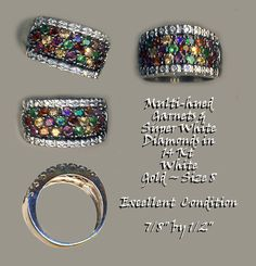 Ring An Assortment of Multi Colored Garnets Diamonds in 14 KT White Gold ~ R C Larner Buttons at eBay & Etsy        http://stores.ebay.com/RC-LARNER-BUTTONS