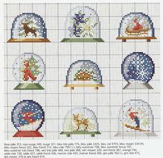 snow globes - enlarge for details Mini Cross Stitch, Cross Stitch Charts, Cross Stitch Designs, Cross Stitch Patterns, Cross Stitching, Cross Stitch Embroidery, Embroidery Patterns, Hand Embroidery, Theme Noel