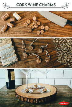Have some extra wine corks lying around? (Shh, so do we!) There are a lot of fun ways to repurpose them, but here's a simple one:   1. Carefully, use a sharp knife to cut cork in ½-inch discs.  2. Brush each cork face with preferred color. Use a different color for each disc.  3. Push a small eye screw into each disc.  4. Use twine to tie each cork to a glass.