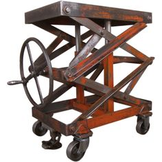 Vintage Industrial Adjustable Steel Scissor Lift Cart / Table | From a unique collection of antique and modern tables at https://www.1stdibs.com/furniture/tables/tables/