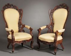 PAIR OF J.H. BELTER ROSEWOOD LAMINATED ARM CHAIRS #Rococo