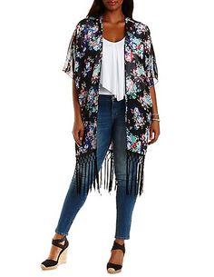 Plus Size Floral Print Fringe Kimono: Charlotte Russe #CharlotteRussePlus #Charlotte0to24 #Plus