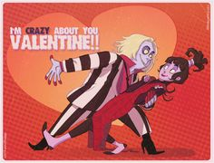 I wanted to make something cute! So I made a cute thing for a cute holiday!Here tear this out and give it to the cute boy who was your science partner. YOU MAKE ME CRAZY! Beetlejuice Cartoon, Lydia Beetlejuice, Tim Burton Characters, Fictional Characters, You Make Me Crazy, Dark And Twisted, Theatre Nerds, Goth Art, Cartoon Shows