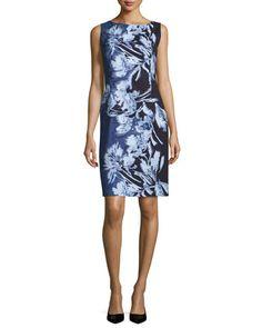 Faith+Sleeveless+Floral-Print+Sheath+Dress,+Multi+by+Lafayette+148+New+York+at+Neiman+Marcus.