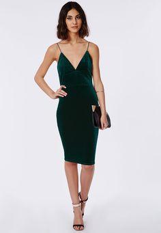 Elodia Velvet Midi Dress Deep Green - Dresses - Midi Dresses - Missguided