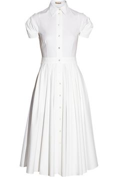 White stretch-cotton poplin Button fastenings through front 96% cotton, 4% spandex Dry clean