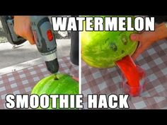 You've Never Seen Such an Easy & Entertaining Way to Make a Watermelon Smoothie! - The Raw Food World News Watermelon Hacks, Watermelon Smoothies, Mark Rober, Cooking Tips, Cooking Recipes, Easy Entertaining, Non Alcoholic Drinks, Beverages, Raw Food Recipes