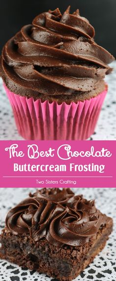 This is definitely The Best Chocolate Buttercream Frosting we have ever tasted and it is so easy to make. Sweet fudgy creamy and delicious - you'll never use store bought Chocolate Frosting again. It is the perfect frosting for cupcakes cakes or even brow Homemade Frosting Recipes, Cupcake Recipes, Cupcake Cakes, Dessert Recipes, Baking Cupcakes, Cake Fondant, Cake Baking, Cake Cookies, Party Cupcakes