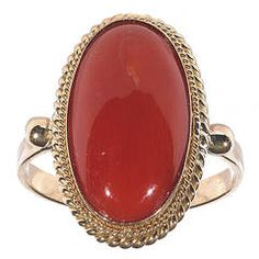Oval Cabochon Coral Yellow Gold Ring