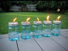 DIY oil lamps for the porch/yard; use citronella oil to mosquitoes away. DIY oil lamps for the porch/yard; use citronella oil to mosquitoes away. Citronella Torches, Citronella Candles, Jar Candles, Tiki Torches, Jar Lanterns, Candels, Patio Lanterns, Candle Wicks, Modern Lanterns