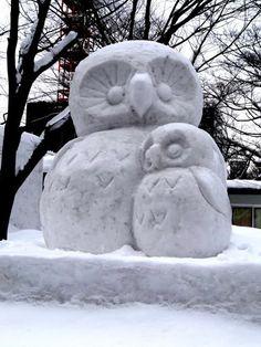 owl snow  sculpture