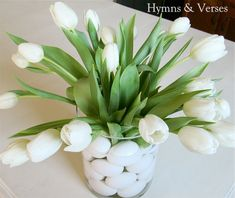 Spring Flower Arrangement with Tulips & Eggs
