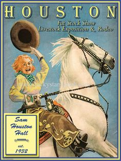 Houston Fat Stock Show Cowboy Cowgirl Vintage Rodeo Poster in Art, Collectibles | eBay