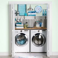 Make a closet laundry space work harder and look better by surrounding the washer and dryer with smart solutions. Small Laundry Rooms, Laundry Room Organization, Laundry Room Design, Laundry Area, Organizing, Garage Laundry, Make A Closet, Room Closet, Master Closet