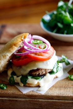 A delicious, moist Lamb burger flavored with Hummus topped with a slice of Provolone cheese. a-bevy-of-burgers Lamb Recipes, Burger Recipes, Cooking Recipes, Burger Food, Yummy Burger, Cheese Burger, Cooking Tips, I Love Food, Good Food