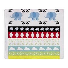 Blue Elephants YaYa Quilt Throw Blanket> Blue Elephants YaYa Quilt> DrapeStudio - Fun & Whimsical elephants quilt design filled with diamonds leaves, puffy clouds and stars and stripes - see MORE www.cafepress.com/drapestudio and www/etsy.com/shop/drapestudio and www.society6.com/drapestudio and www.zazzle.com/drapestudio OR main site www.DrapeStudio.com
