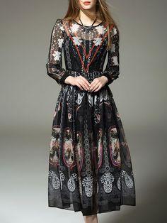 Printed Chiffon Two Piece Midi Dress