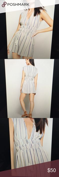 BCBG Striped Faux-wrap Sleeveless Romper NWT Bestselling striped sleeveless surplice romper from BCBG. Shirred waist and hidden back hook and eye enclosure with adorable tassel detail. Super cute romper that can be worn casually to the beach or on date night! Xxs in BCBG size fits frames that usually purchase xs or s from other brands BCBG Pants Jumpsuits & Rompers