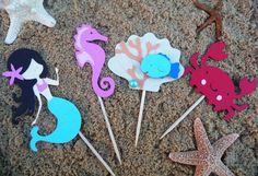 Mermaid + Undersea Cupcake Toppers