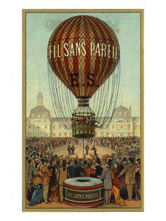 Vintage hot air balloon travel print